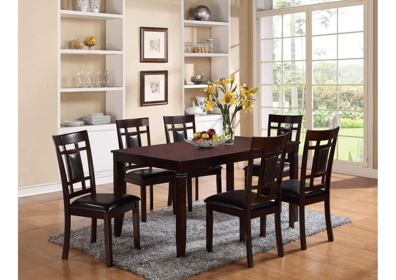 Paige Dinette Table w/6 Side Chairs,Crown Mark
