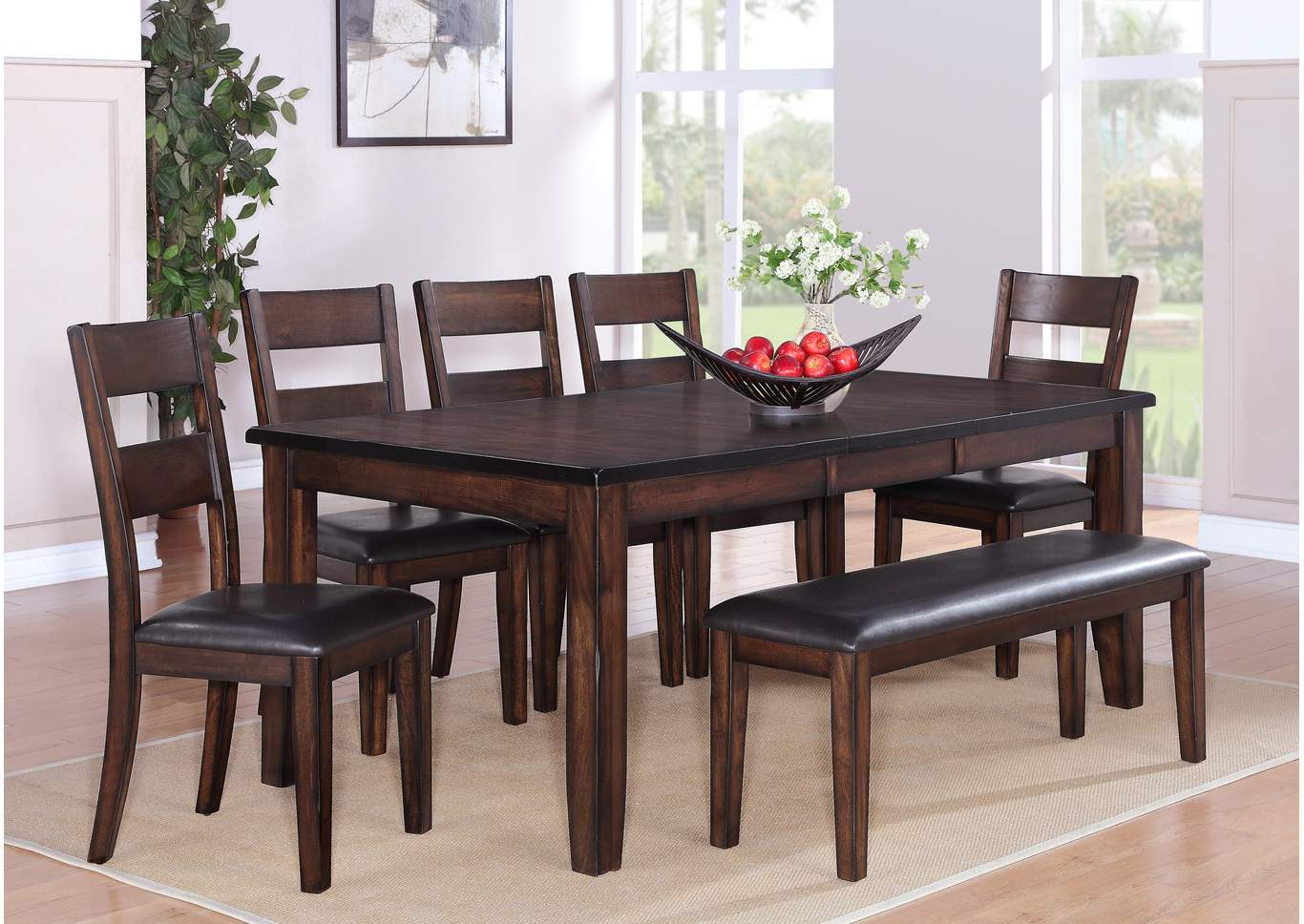 Maldives Rectangular Extension Dining Table w/4 Side Chairs and Bench,Crown Mark