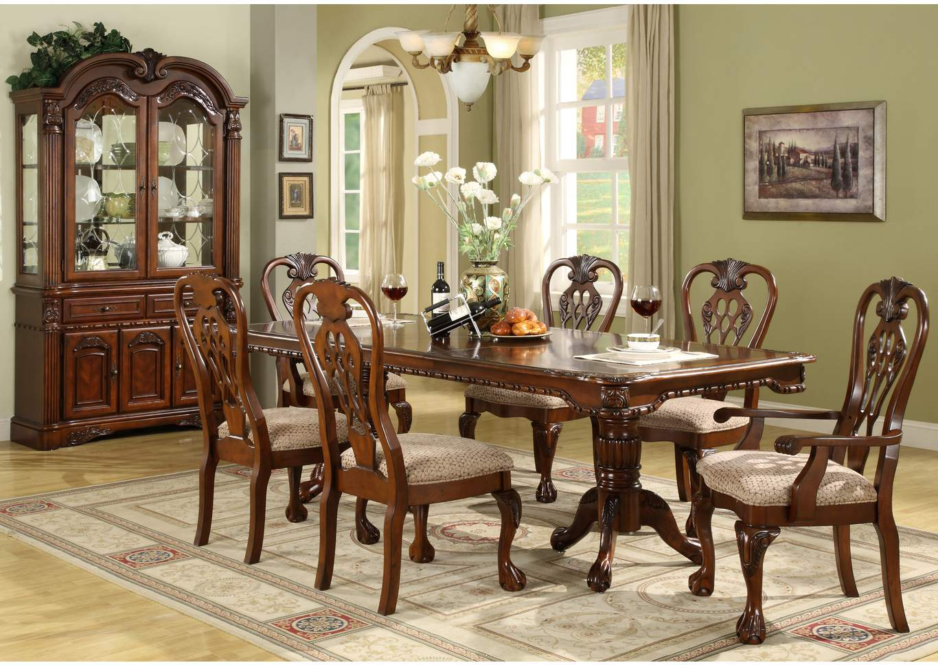 Brussels Dining Table w/4 Side Chairs and 2 Arm Chairs,Crown Mark