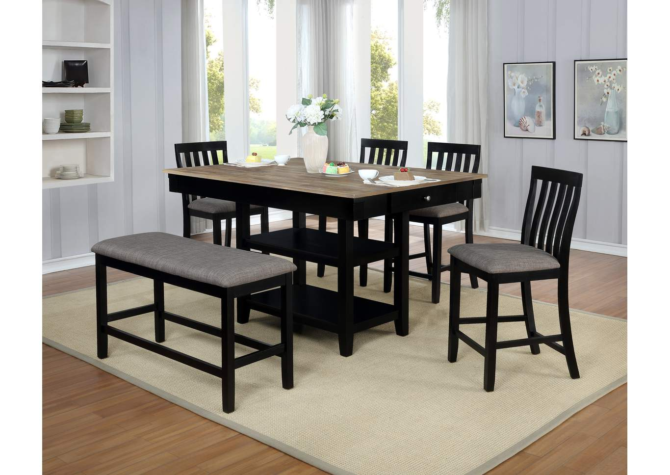 Admirable Ivan Smith Nina Black Dining Table W 4 Side Chairs And A Bench Ibusinesslaw Wood Chair Design Ideas Ibusinesslaworg