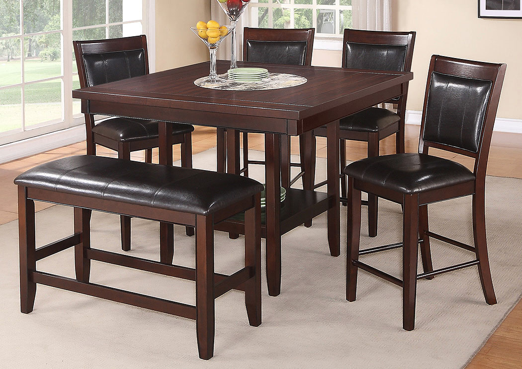 Fulton Cherry Counter Height Dining Room Table w/4 Counter Height Chair and Bench,Crown Mark