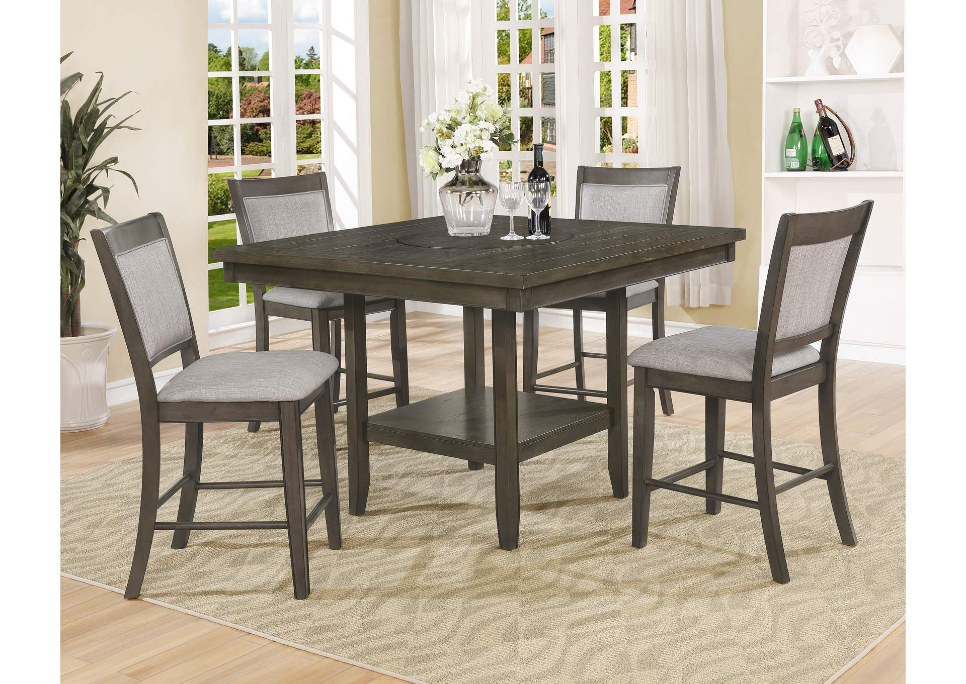 Fulton Gray Counter Height Dining Table w/4 Side Chairs,Crown Mark