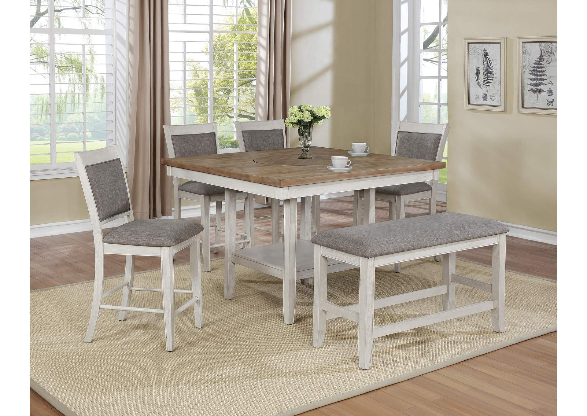 Fulton White 5 Piece Dining Table Set (Dining Table w/4 Side Chairs),Crown Mark