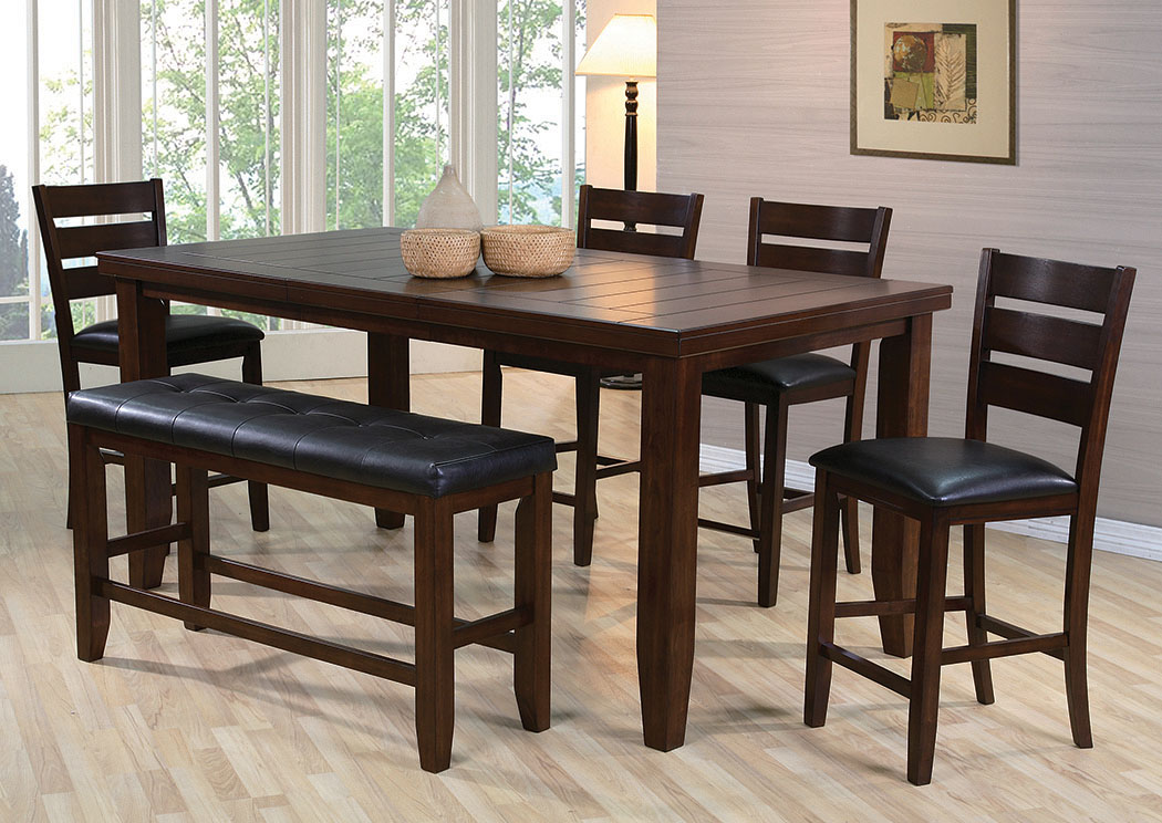 Bardstown Counter Height Extension Dining Table w/ 4 Side Chairs and Bench,Crown Mark