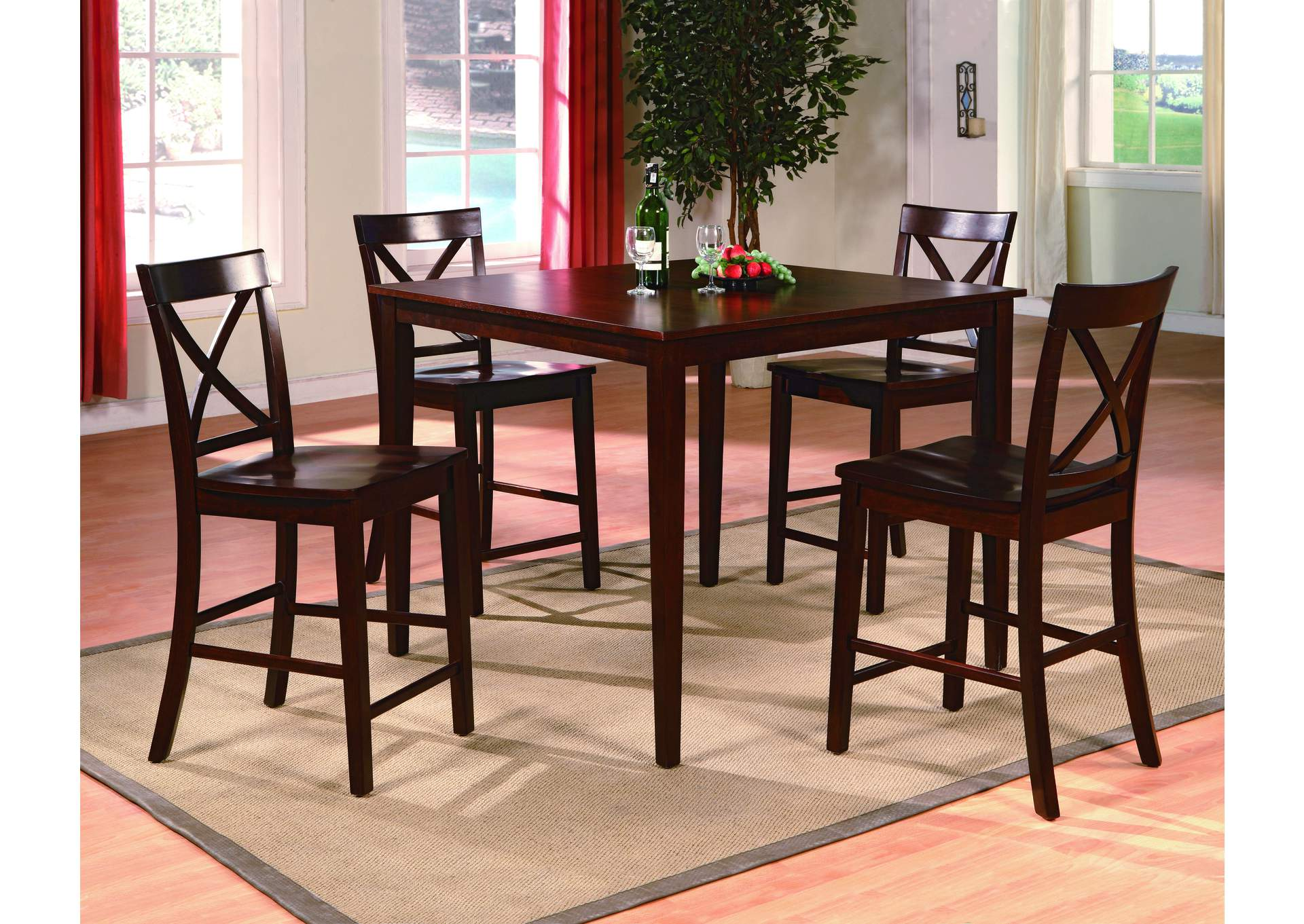 Theodore Brown Counter Height Dining Set W/ 4 Chairs,Crown Mark