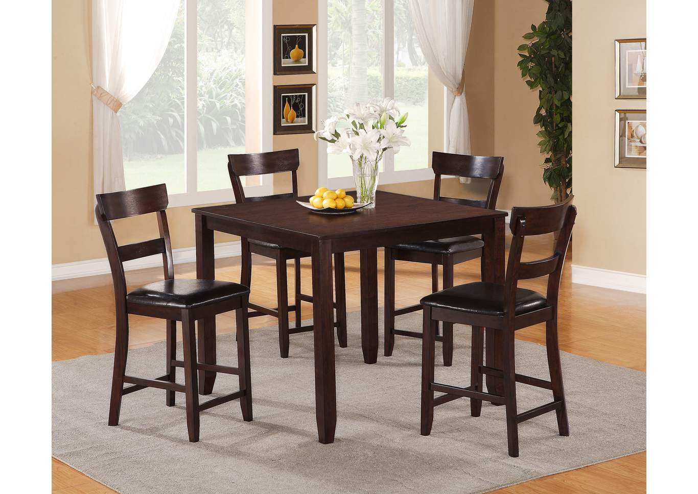 Henderson Brown Counter Height Dinette W/ 4 Chairs,Crown Mark