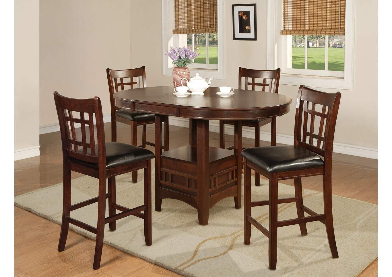 Hartwell Cherry Counter Height Extension Dining Table w/4 Counter Height Chairs,Crown Mark