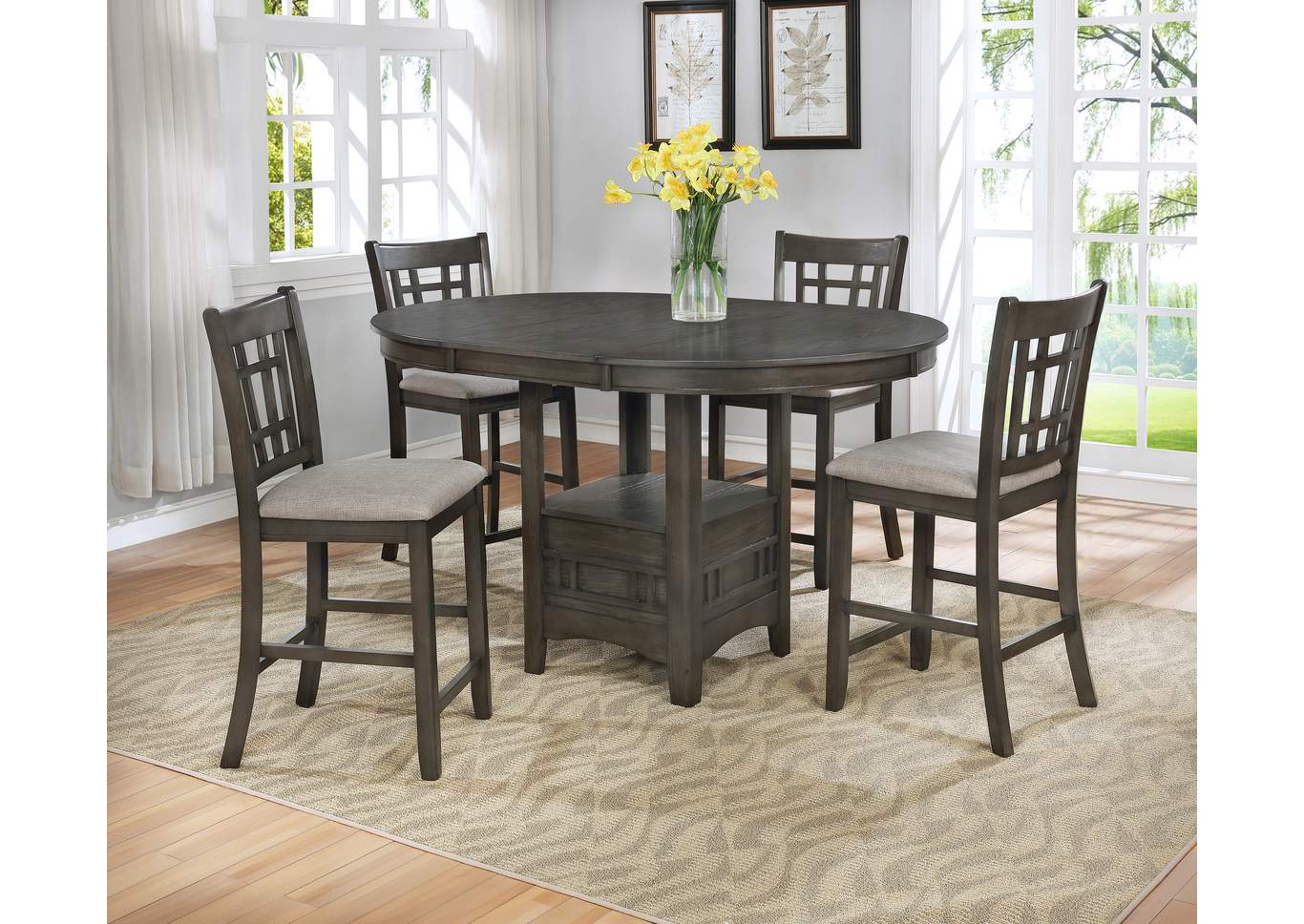 Hartwelll Grey Counter Height Extension Dining Table w/4 Counter Height Chairs,Crown Mark