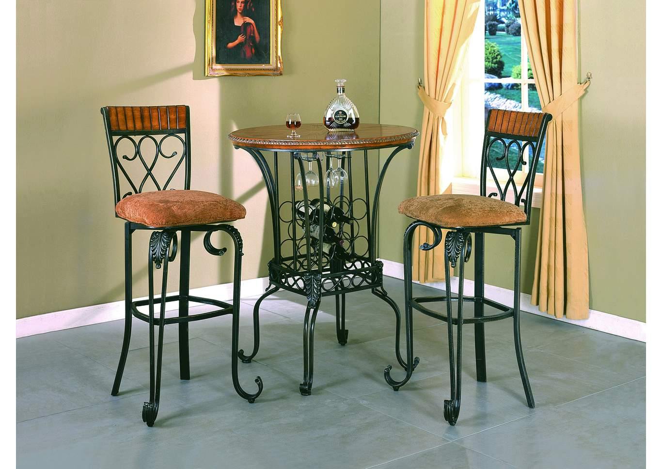 Adams Furniture And Appliance Alyssa 35 Round Bar Table W 2 Swivel