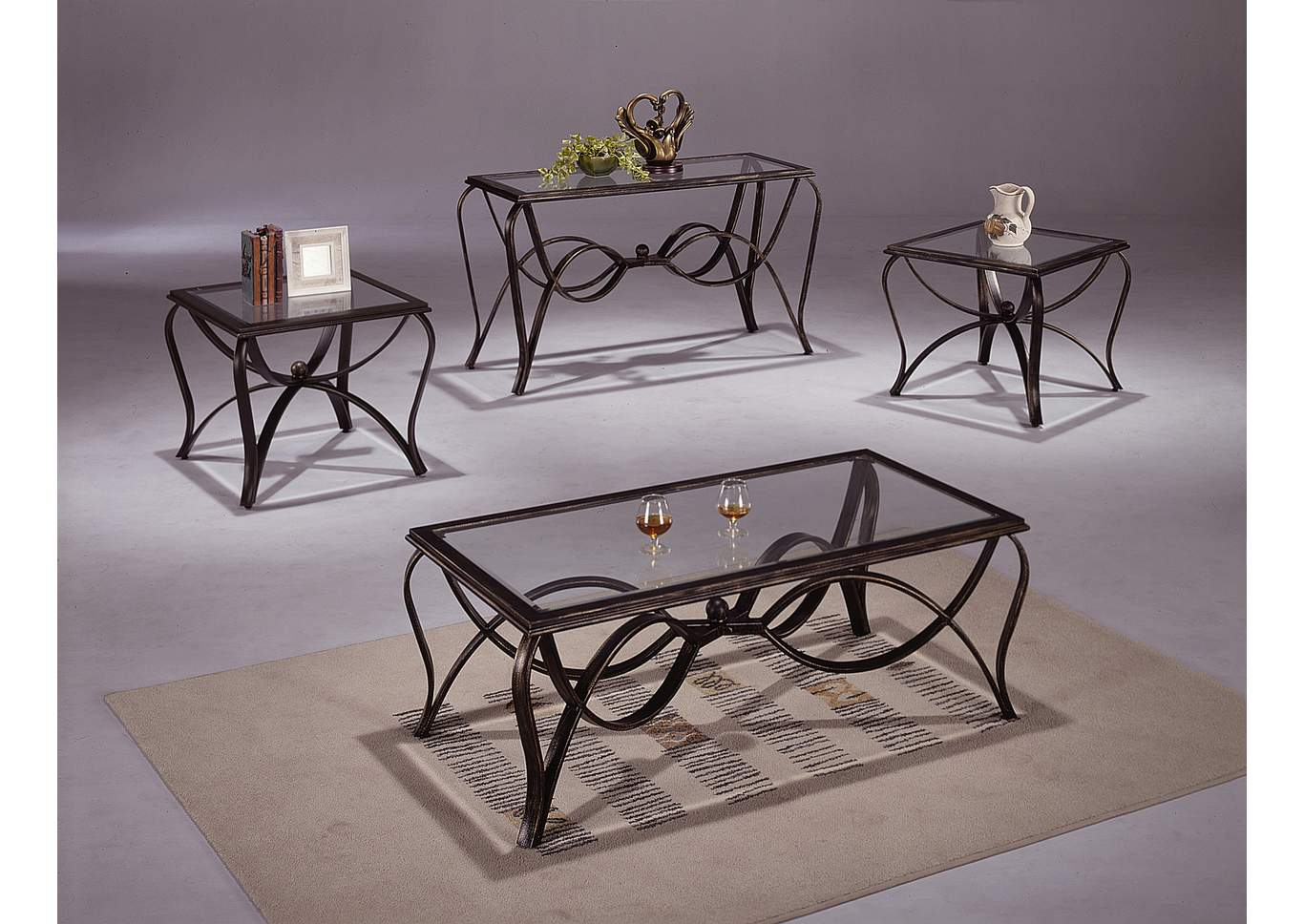 Monarch Glass Occasional Table Set (Cocktail & 2 Ends),Crown Mark