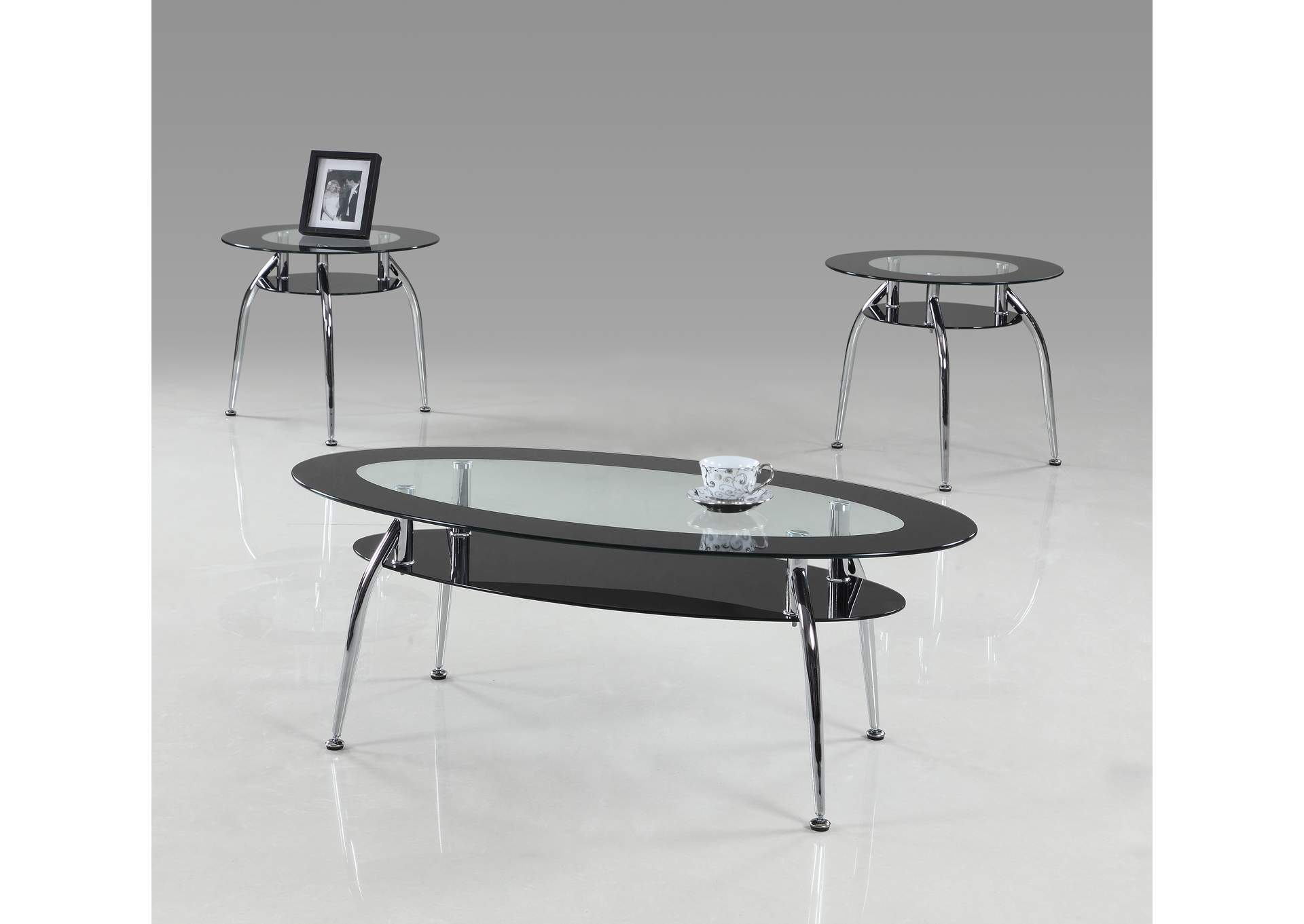 Mila Black Glass Top Cocktail Table 3 Pack,Crown Mark