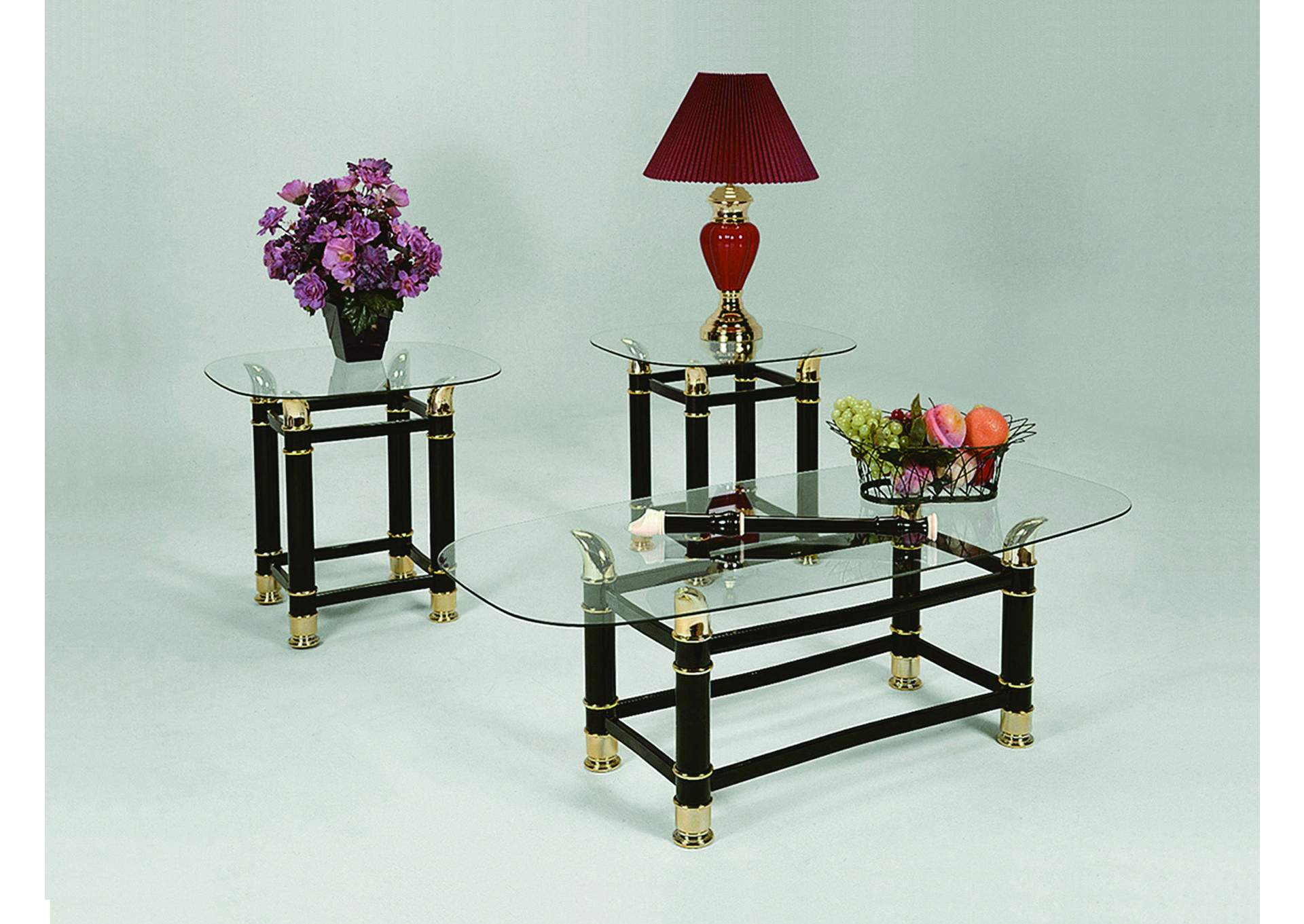 Horn Black Glass Top Occasional Table Set (Cocktail & 2 Ends),Crown Mark