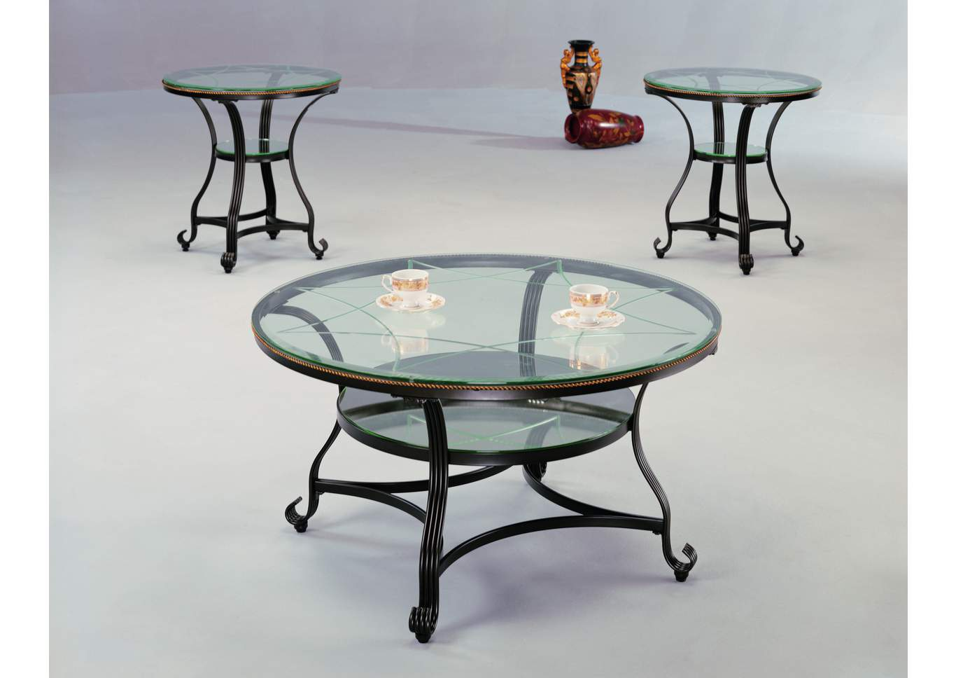 Jessica Glass Top Occasional Table Set (Cocktail & 2 Ends),Crown Mark