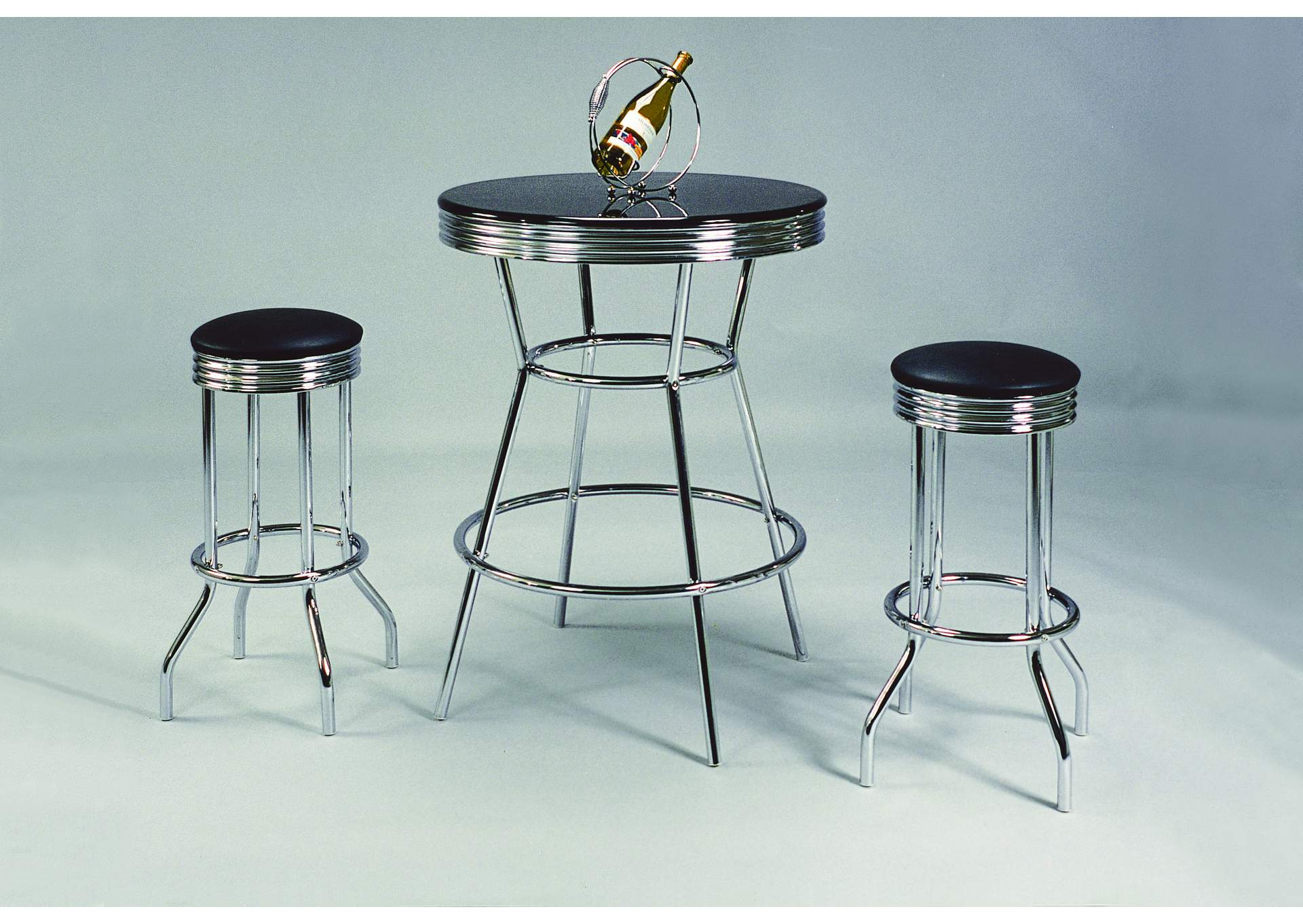 Chrome Bar Table Set W/ 2 Stools,Crown Mark