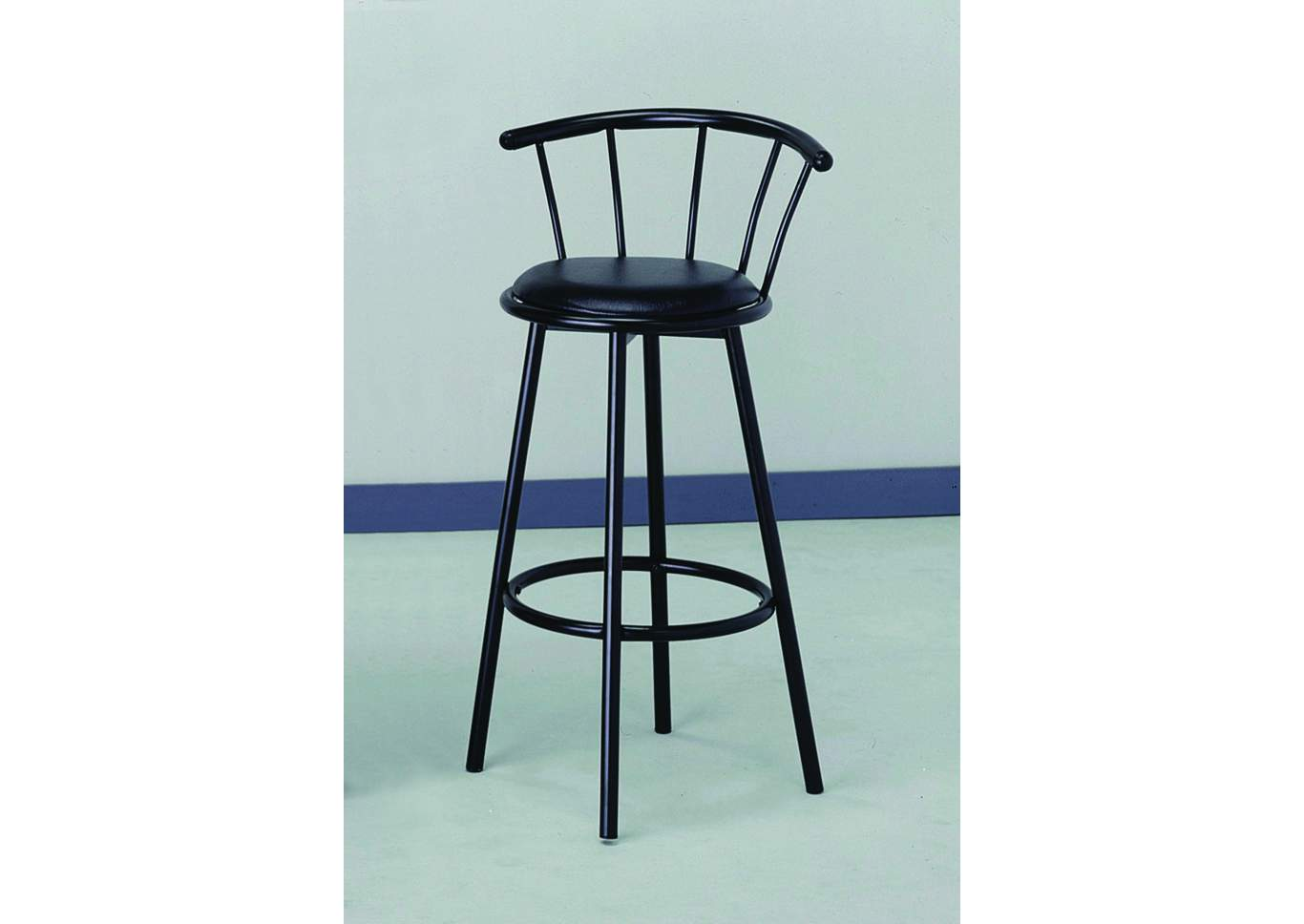 Swivel Black Bar Chair (Set of 2),Crown Mark