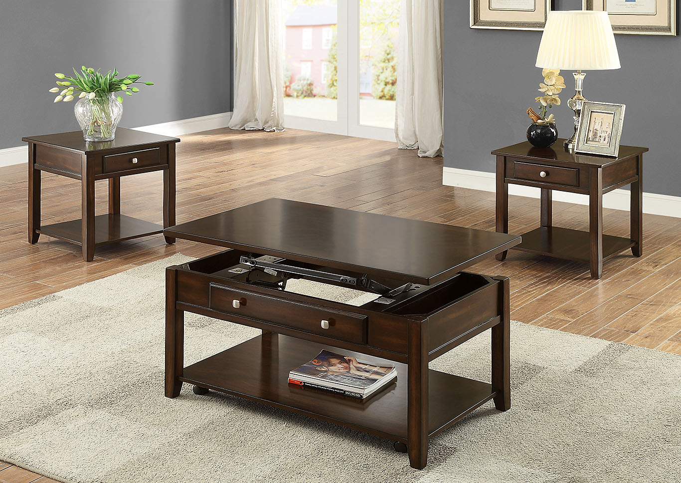 Julian Brown Lift Top Coffee Table W/Caster,Crown Mark