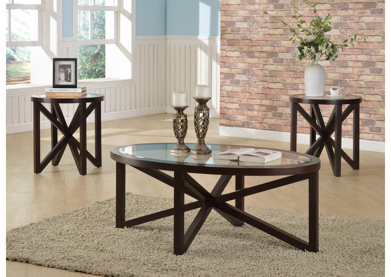 Cole Brown Glass Top Cocktail Table W/ 2 End Tables,Crown Mark