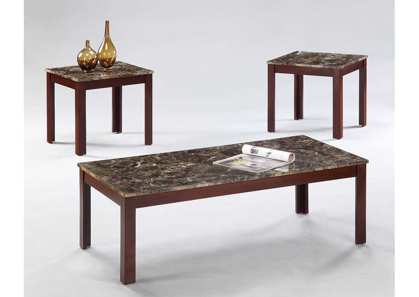 Lola Brown Cocktail Table W/ 2 End Tables,Crown Mark