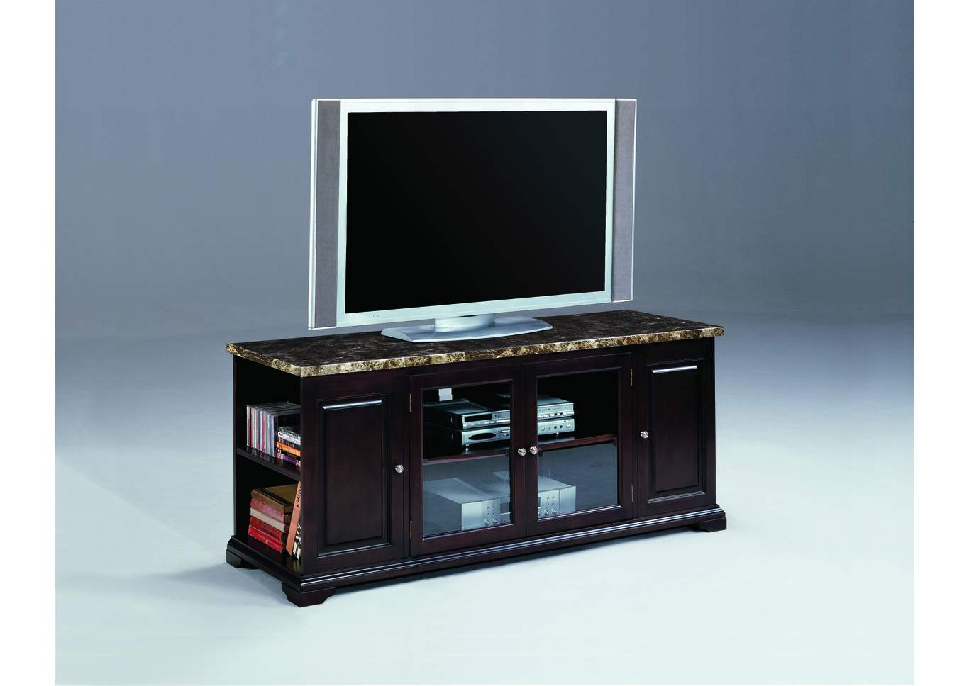 Harris Espresso & Marble Entertainment Console W/ Storage,Crown Mark