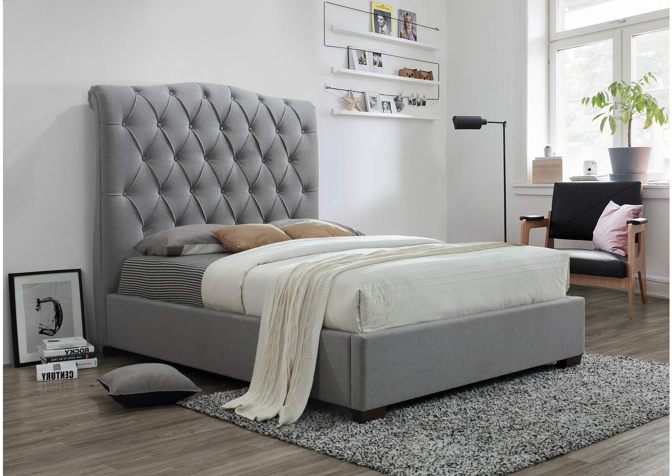 Janice Grey Upholstered King Platform Bed,Crown Mark