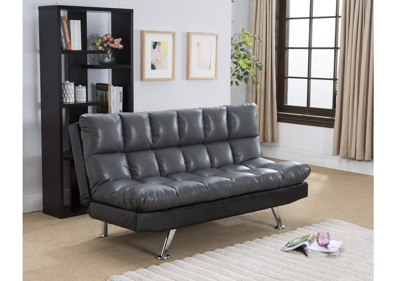 Genial Sundown Black/Grey Adjustable Sofa,Crown Mark