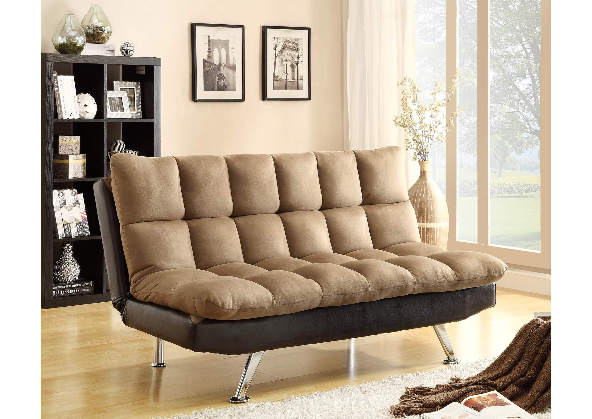 Sundown Espresso/Pebble Adjustable Sofa,Crown Mark