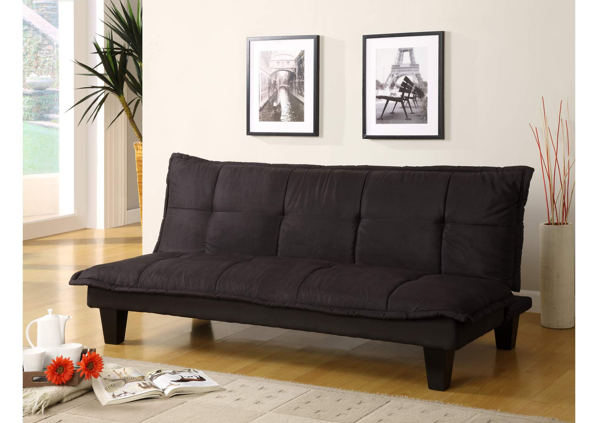 Black Margo Adjustable Sofa,Crown Mark