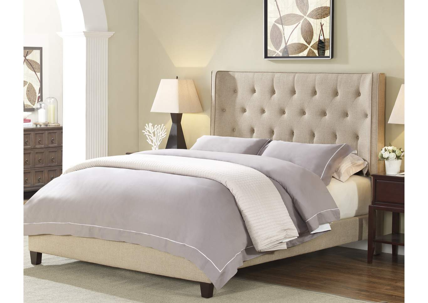 Mayes Upholstered Queen Bed,Crown Mark