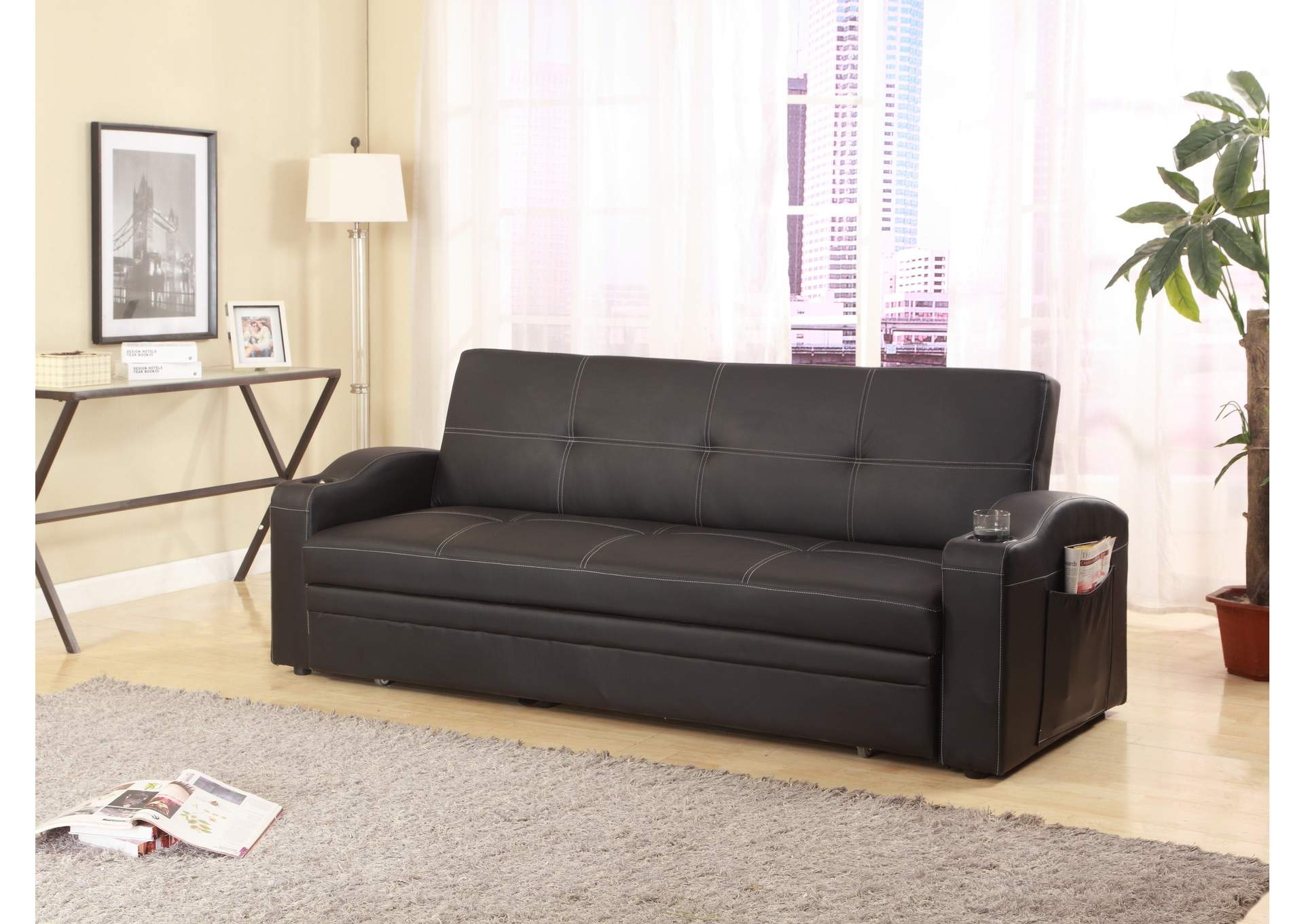 Easton Black Adjustable Sofa,Crown Mark