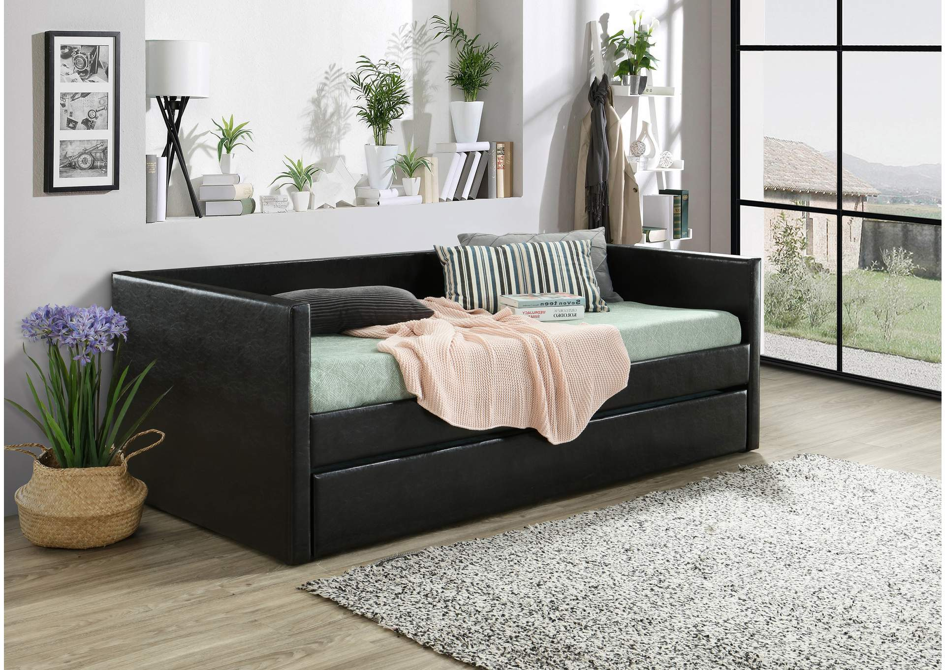 Sadie Black Upholstered Daybed,Crown Mark