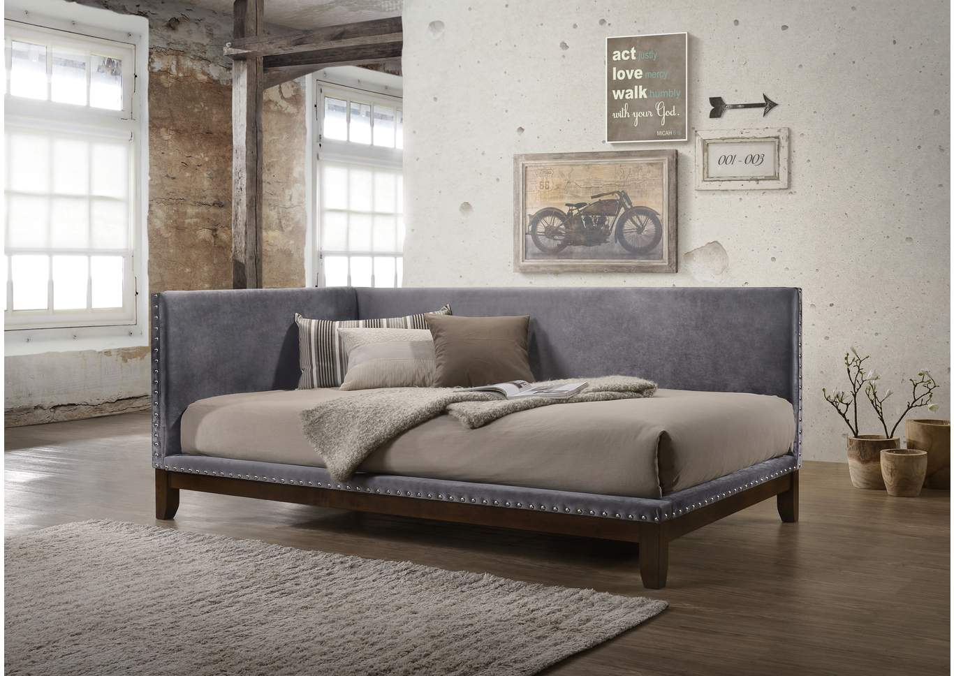 Pax Grey Upholstered Daybed,Crown Mark