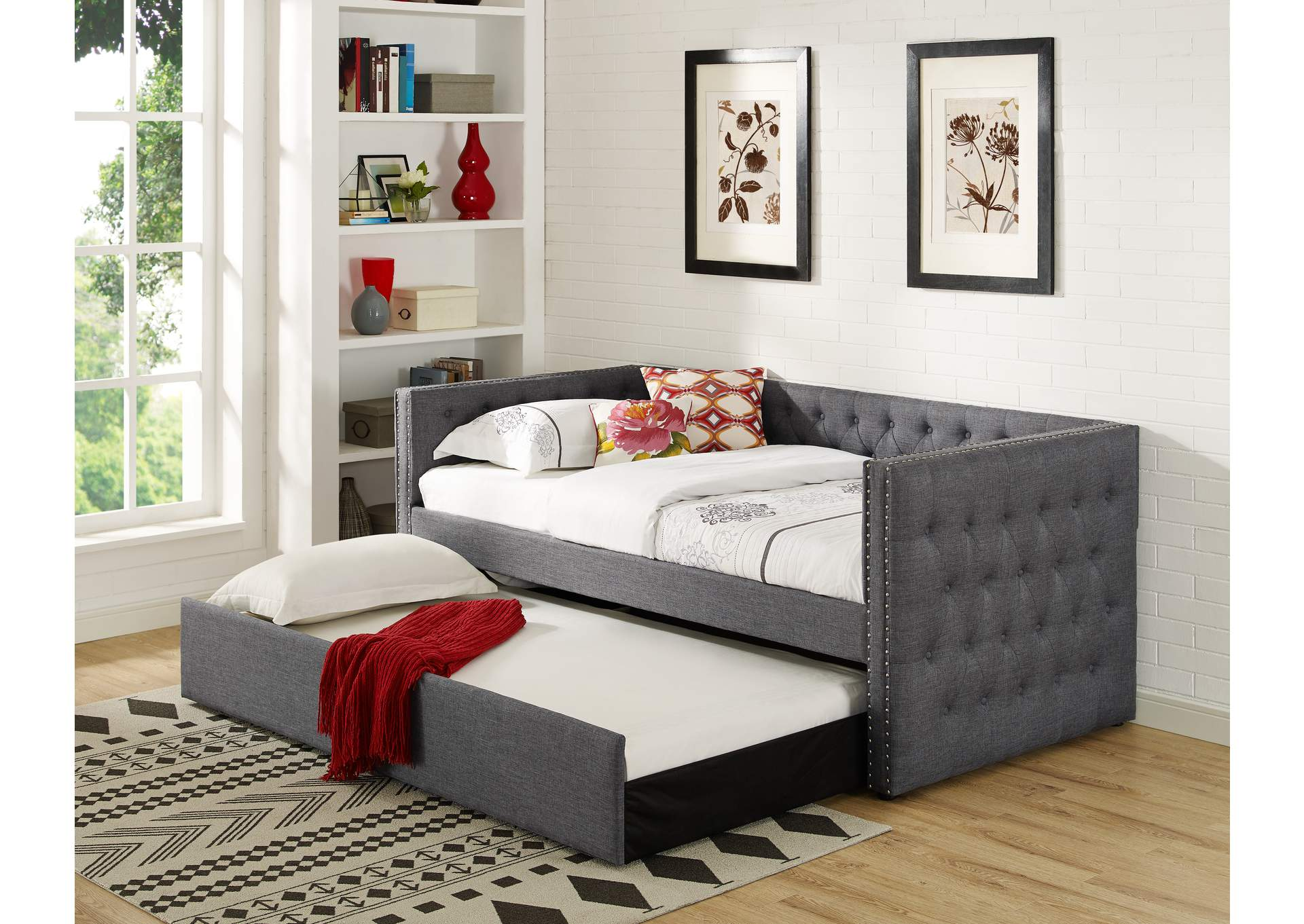 Trina Grey Upholstered Daybed,Crown Mark