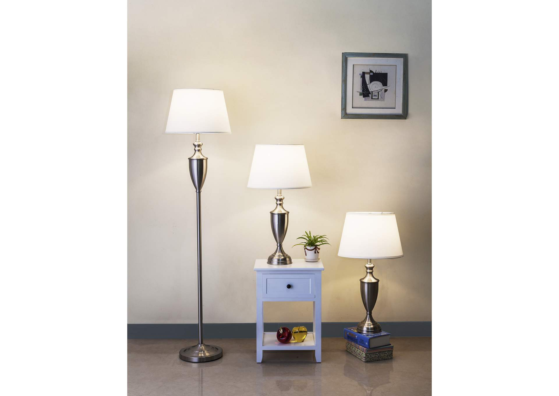 Revel Brown Floor Lamp & 2 Table Lamps,Crown Mark