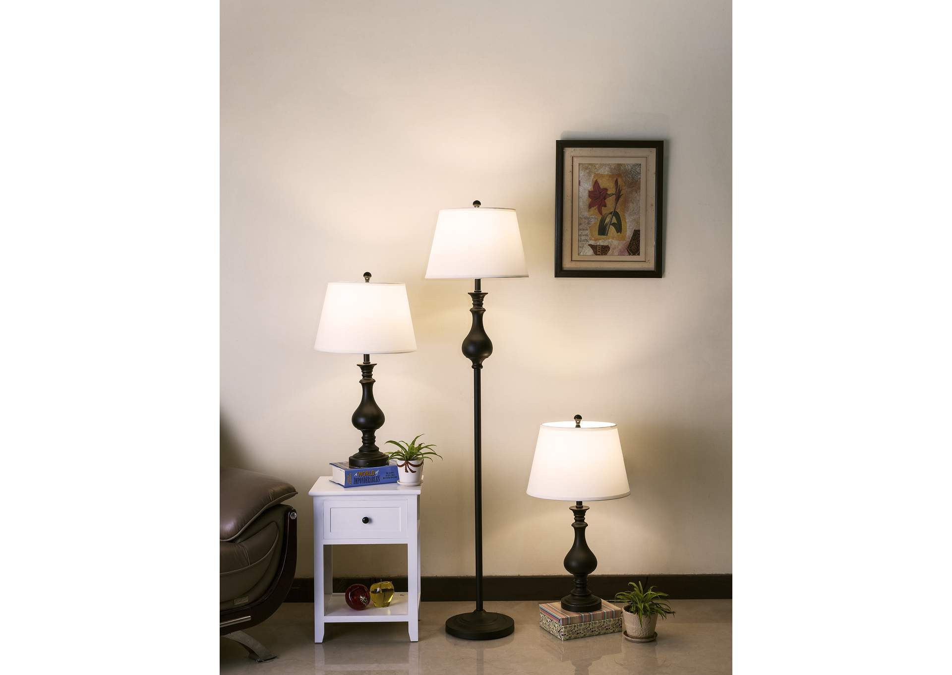 Daya Brown Floor Lamp & 2 Table Lamps,Crown Mark