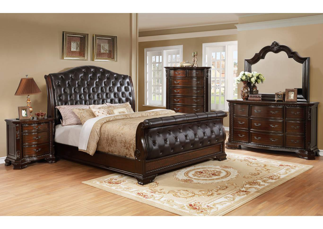 Sheffield Upholstered King Sleigh Bed,Crown Mark