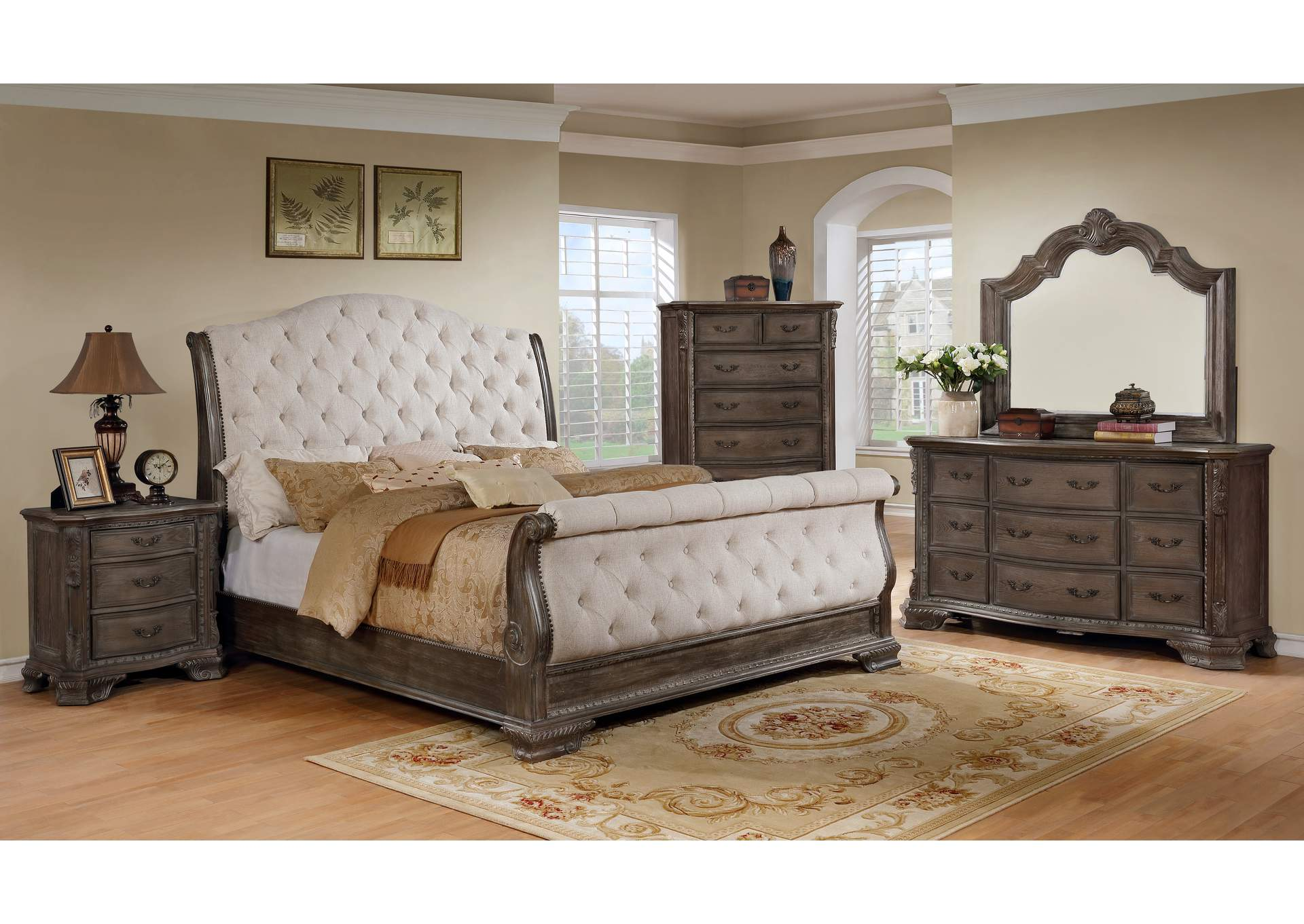 Sheffield Antique Grey Upholstered Queen Sleigh Bed,Crown Mark