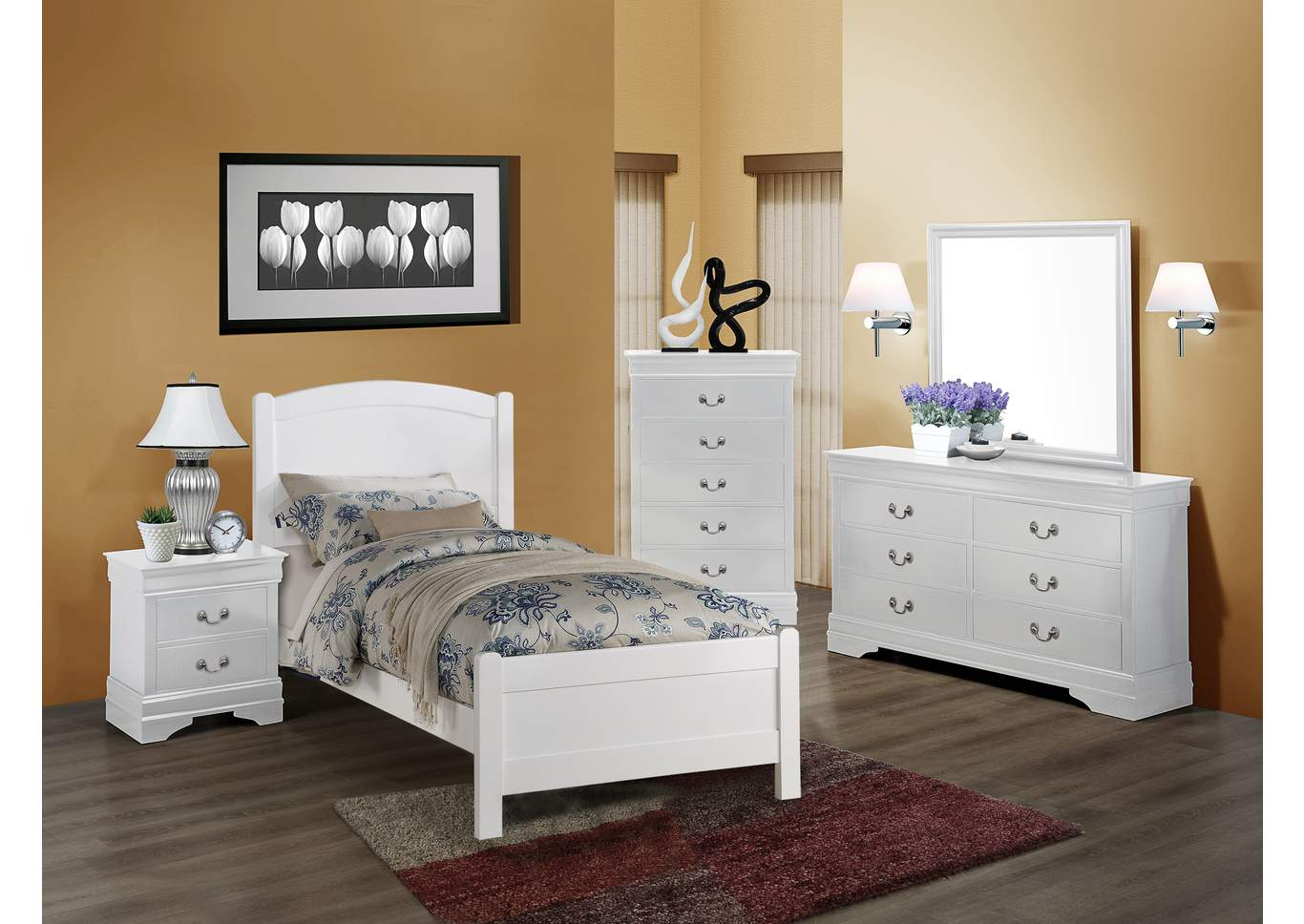 Helene White Twin Panel Bed w/Dresser and Mirror,Crown Mark