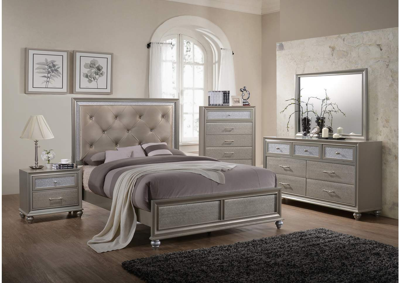 Lila Champagne Upholstered/Panel Queen Bed,Crown Mark