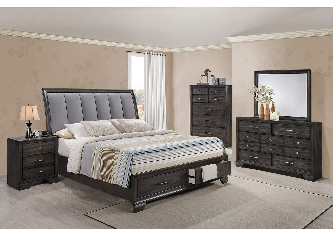 Jaymes Queen Storage Bed, Dresser, and Mirror,Crown Mark