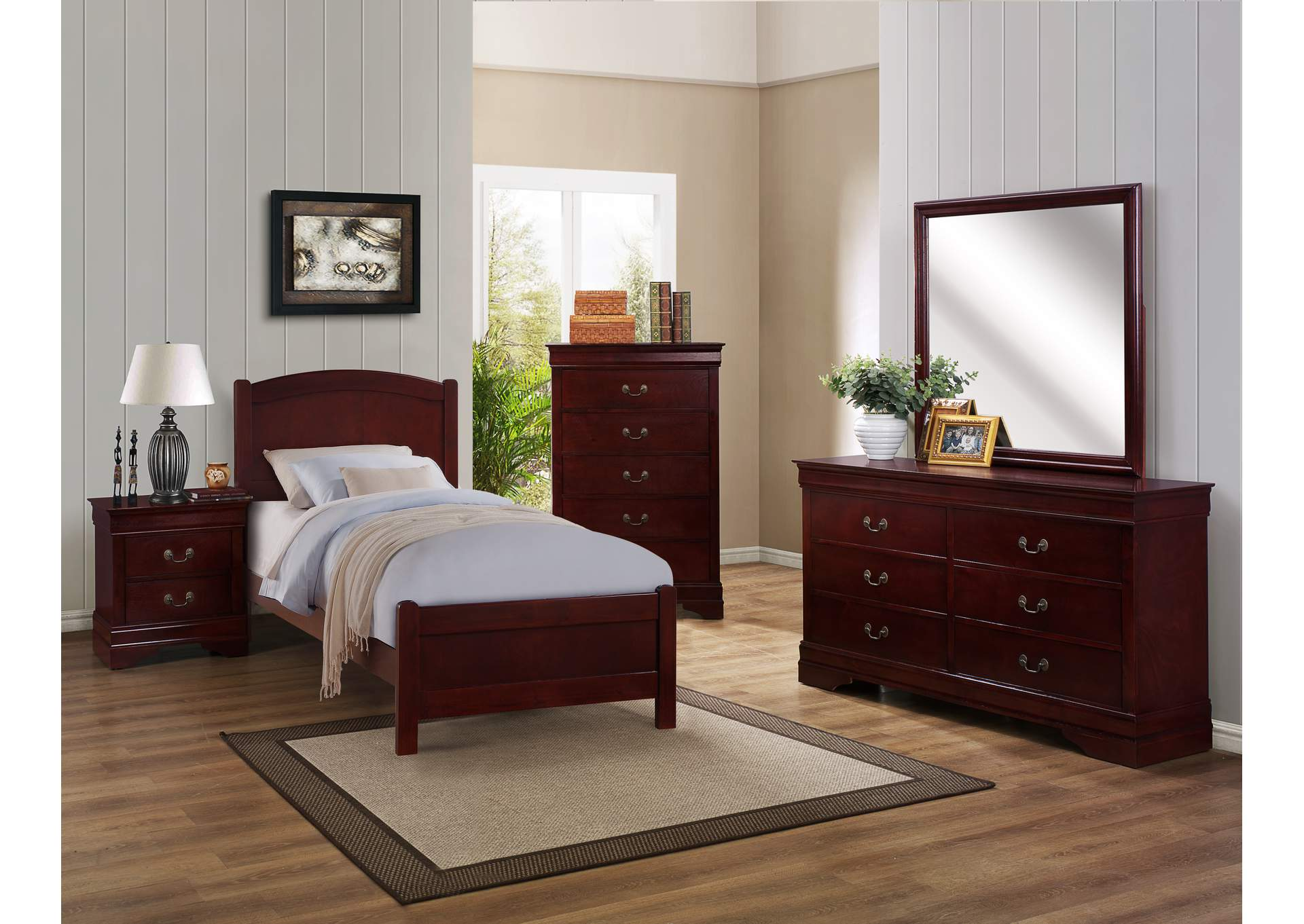 Helene Cherry Twin Panel Bed w/Dresser and Mirror,Crown Mark