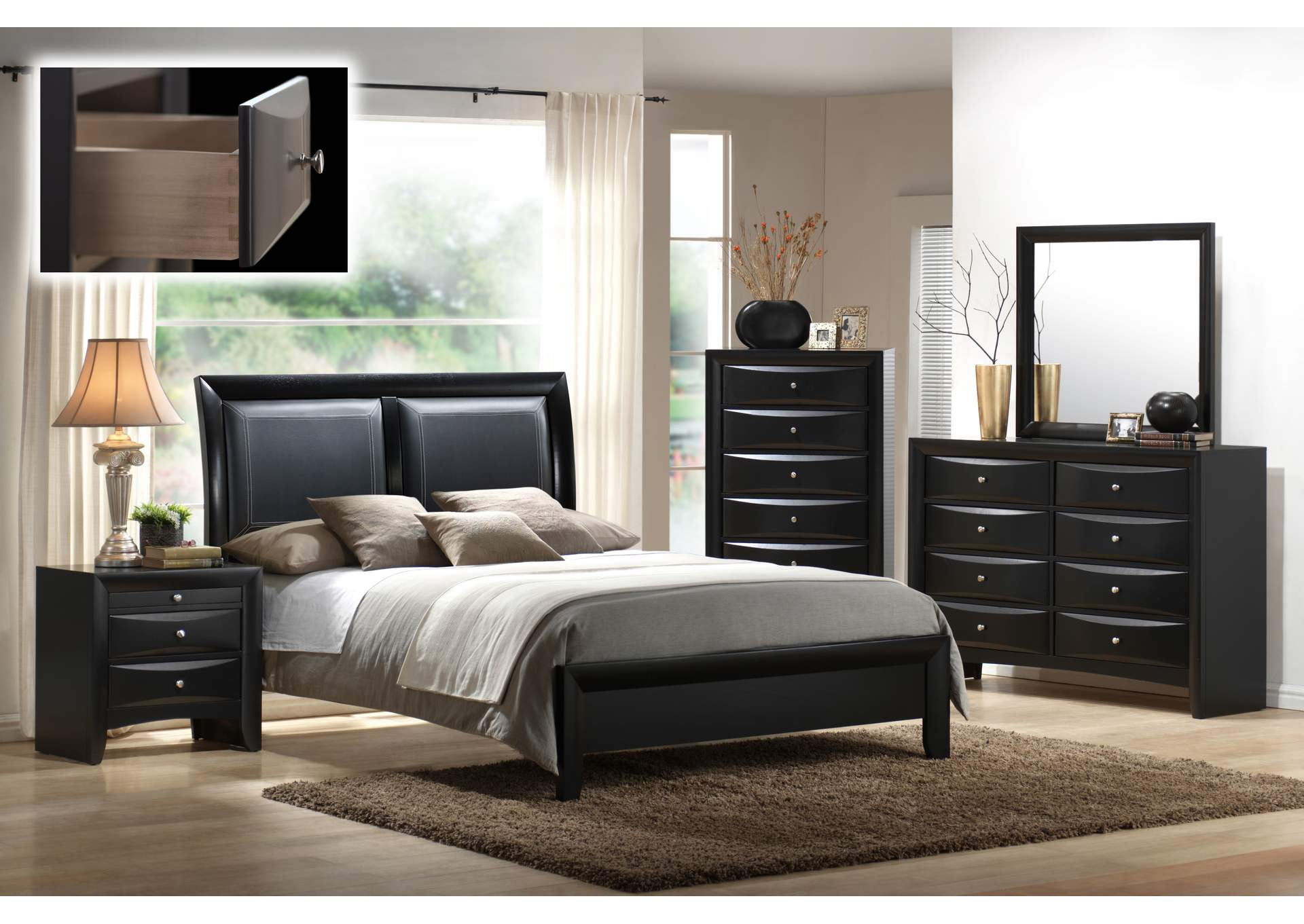 Emily Black Queen Bed w/8 Drawer Dresser and Mirror,Crown Mark