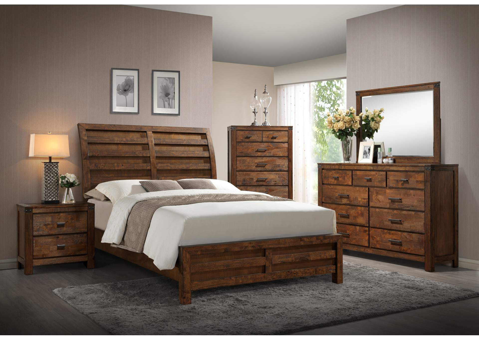 Ware House Furniture Curtis Solid Wood Sleigh Queen Bed Wdresser