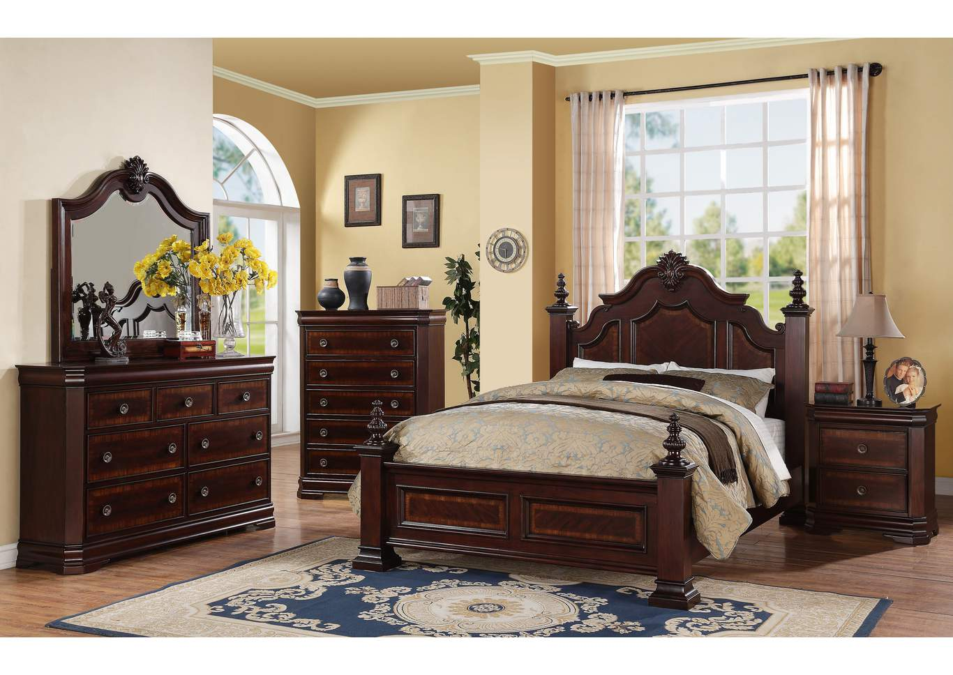 Charlotte Queen Poster Bed w/Dresser, Mirror, Drawer Chest and Nightstand,Crown Mark