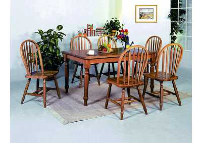 Farmhouse Oak Rectangular Dining Table w/ 6 Arrow Windsor Oak Side Chairs