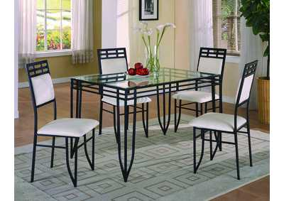 Image for Matrix Black Rectangular Glass Dining Set W/ 4 Chairs