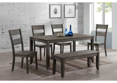 Sean Grey Rectangular Wooden Dining Set W/ 4 Chairs & Bench