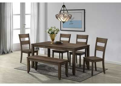 Sean Brown Rectangular Wooden Dining Set W/ 4 Chairs & Bench