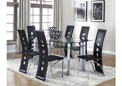 Echo Black Rectangular Glass Dining Set W/ 6 Chairs