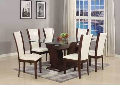 Camelia Rectangular Glass Top Dining Room Table w/6 White Side Chairs