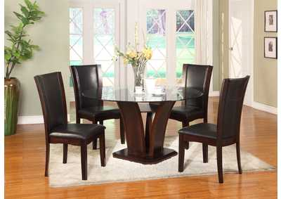 Camelia Glass Round Dining Room Table w/4 Side Chairs